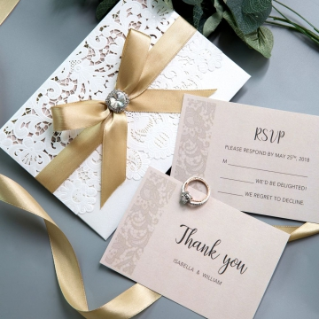 Elegant Ivory Laser Cut Wedding Invitations with Gold Shimmer Ribbon and Diamante, White and Blush Spring Wedding Colors,  Cheap Invitations WS002