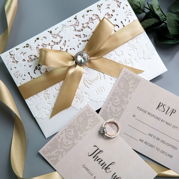 When Do I Send Out Wedding Invites: Elegant Ivory Laser Cut Wedding Invitations With Gold