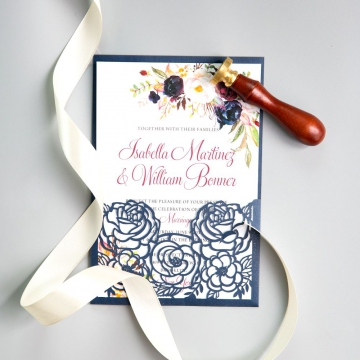 Navy Blue Floral Laser Cut Wedding Invitations, Pocket Invitations, Vintage Watercolor Flowers Pattern, Spring Wedding Invitation, Cheap Invitations WS004