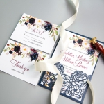 Elegant Navy Blue Floral Laser Cut Wedding Invitation WS004