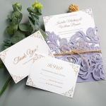 Graceful Lilac Floral Laser Cut Wedding Invitation with Twine Band WS005