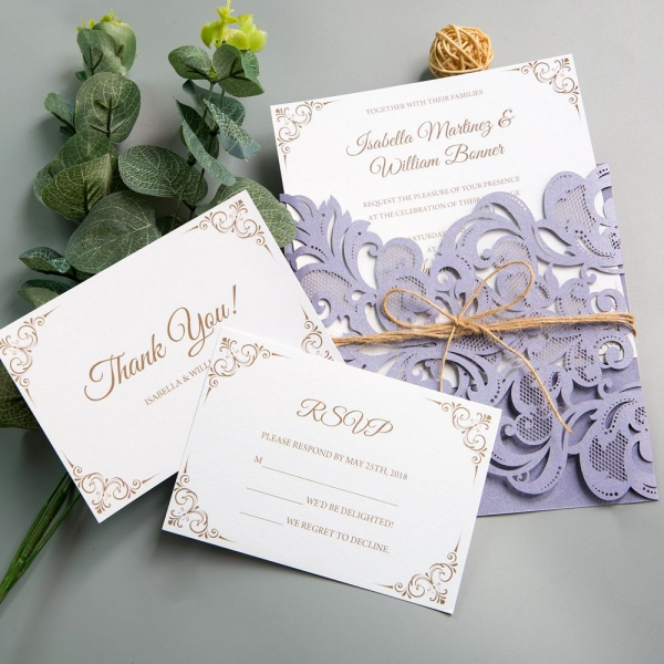 Rustic Lilac/Lavender Laser Cut Wedding Invitations With