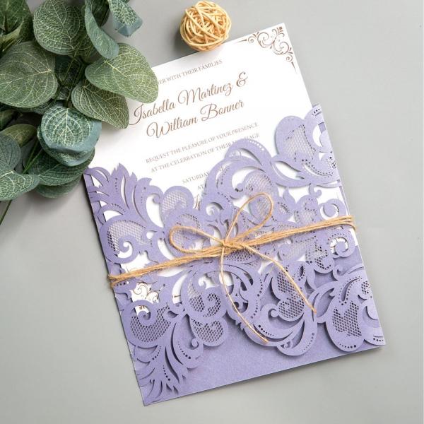 Purple Rustic Wedding Invitations: Rustic Lilac/Lavender Laser Cut Wedding Invitations With