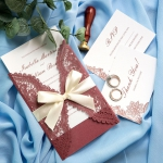 Burgundy Floral Laser Cut Wedding Invitation with Gold Ribbon WS006