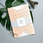 Cordially Inviting-Blush shimmer Laser Cut Wedding Invitations with White Belly Band and Unique Tag WS007