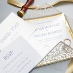 Ivory Geometric Floral Laser Cut Wedding Invitations with Gold Backer WS008