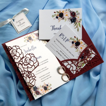 Vintage Burgundy Floral Laser Cut Wedding Invitations with Tag,  Gorgeous Watercolor Flowers, Spring or Fall Wedding Colors, Pocket Invitations WS009