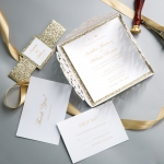 Ivory Geometric Floral Laser Cut Wedding Invitations  with Gold Glitter Belly Band and Personalised Tag WS010