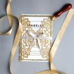 Vintage Gold  Laser Cut Wedding Invitations with Glittery Gold Backer WS011