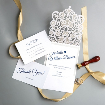 Modern Floral Laser Cut Wedding Invitations with Diamante, Spring White Wedding Colors, Affordable Wedding Invitations WS012