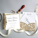 Elegant Gold Shimmer Glittery Pocket Laser Cut Wedding Invitations WS013