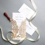 Classic Rose Gold Shimmer Laser Cut Wedding Invitations WS014