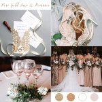 Classic Rose Gold Shimmer Floral Laser Cut Wedding Invitations, Fall Winter Affordable Wedding Invitations, Free Envelopes WS014