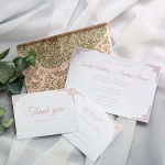 Romantic Blush Pink Glittery Laser Cut Wedding Invitations WS016