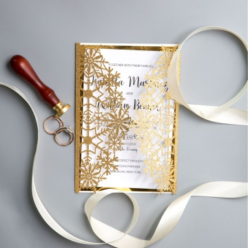 Vintage Gold Glittery Laser Cut Wedding Invitations, Snowflake Pattern Winter Wedding Invitations, Cheap Wedding Invitations WS017