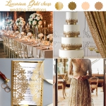 Luxurious Gold Glittery Laser Cut Wedding Invitations, Gold Foil Background,  Cheap Wedding Invitations, Classic WS017