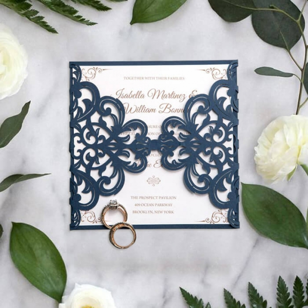 Navy Blue Laser Cut Wedding Invitations