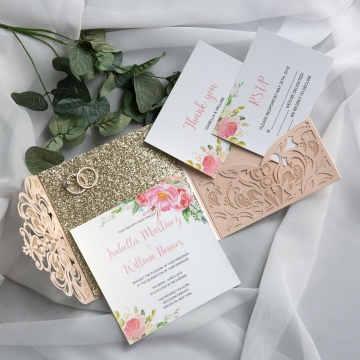 Spring Laser Cut Wedding Invitations, Rose gold glitter wedding colors, blush pink greenery watercolor flowers, elegant wedding invitations, cheap wedding invitations WS021