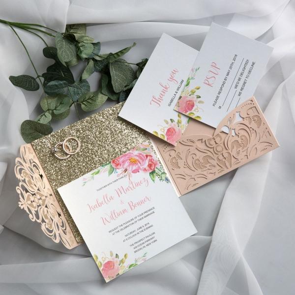 763a1e31004af ... Graceful Rose Gold Shimmer Pocket Laser Cut Wedding Invitations WS021  ...