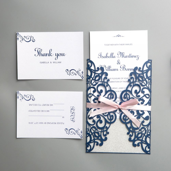 spring laser cut wedding invitations with ribbon  navy blue and pink wedding colors  diy wedding