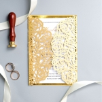 Classtic Gold  Laser Cut Wedding Invitations WS024