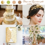 Gold Foil Textured laser Cut Wedding Invitations, Luxurious Weddings, Cheap Wedding Invites, Classic, Fall, Winter, Spring WS024