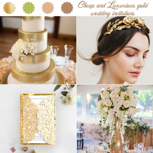 Winter Wedding Invitations Cheap: Gold Foil Textured Laser Cut Wedding Invitations