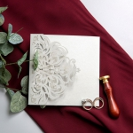 Romantic Gray Pocket Laser Cut Wedding Invitations WS025