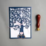 Classic Navy Blue Tree Laser Cut Wedding Invitations with Bow WS026