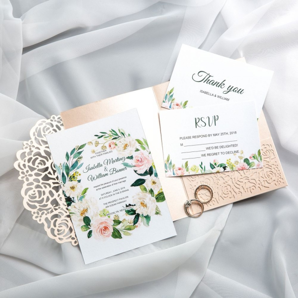Spring Laser Cut Wedding Invitations Blush And Greenery Watercolor