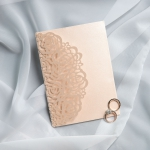 Rustic Rose Gold Blush Pink Glittery Laser Cut Wedding Invitations with Green and Blush Florals WS027