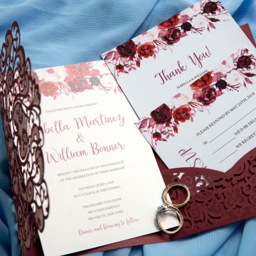 Fall Burgundy Pocket Laser Cut Wedding Invitations with Flowers, Elegantweddinginvites, Bridal Shower Invitations WS029