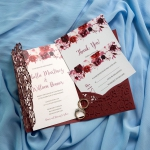 Fall Burgundy PocketLaser Cut Wedding Invitations WS029
