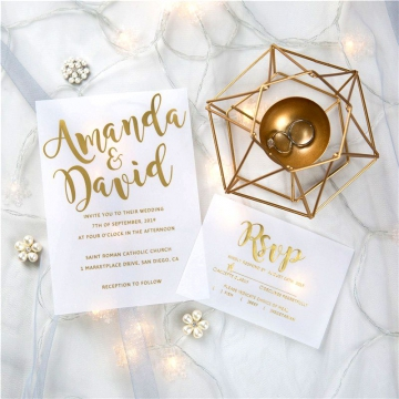 luxury modern custom foil wedding invitation suites on vellum paper, transparent wedding invitations VIP001