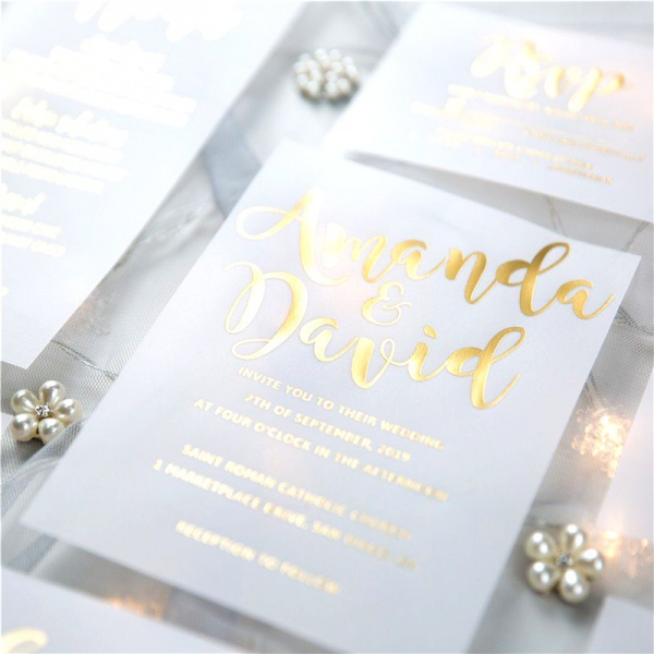 Luxury Modern Custom Foil Wedding Invitation Suites On Vellum Paper Transparent Invitations VIP001