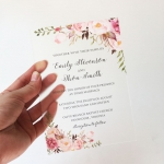 Clear Floral Acrylic Wedding Invitation | Plastic Wedding Invites | Burgundy Navy Blush Floral ACL002