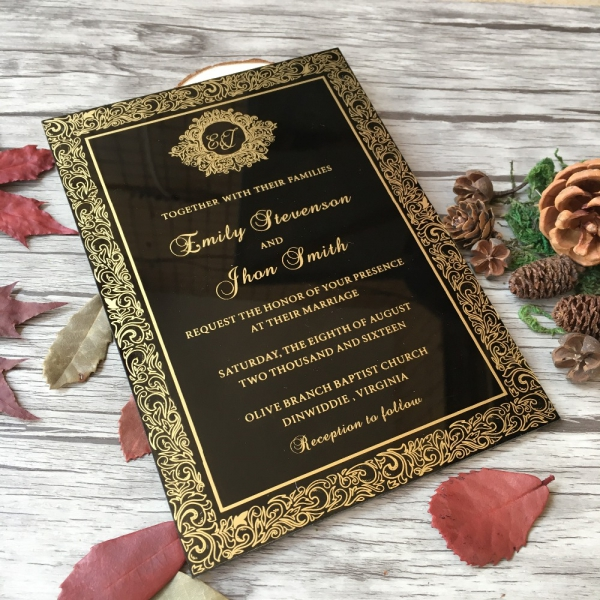 Wedding Invitation Book Style: Customized Royal Style Black Acrylic Wedding Invitation