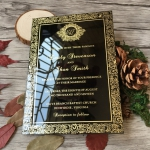 Customized Royal style Black Acrylic Wedding Invitation Card Acrylic Invitations ACL003