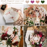 Blush laser cut wedding invitations with watercolor floral, spring and summer wedding cards, elegant cheap wedding invitations, diamante, lace, custom invitations ws032
