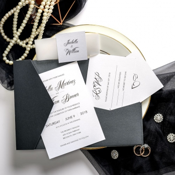 Black vintage wedding invitations with vellum transparent belly band and square tag, classic pocket wedding invitation for fall and winter ws034