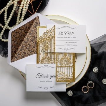 Gold shimmer laser cut wedding invitations, gate wedding invitations, art decor wedding invitations, envelop lining, royal wedding invitations, luxury classic vintage weddings ws035