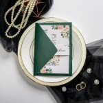 Watercolor floral wedding invitations with belly band, emerald envelops with gold glitter lining, emerald green wedding invitations, luxury wedding invitations classic, custom wedding invitations affordable, rsvp cards, thank you cards ws038