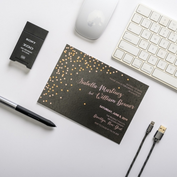 Chic Affordable Black and Rose Gold Engagement Invitation Card EIC003