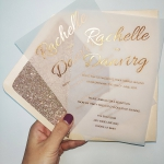 Rose gold foil wedding invitations gravure printing, blush pink envelope with rose gold glitter backer, luxury and romantic wedding invitations, spring, summer ,fall, winter, elegant, affordable, custom ws039