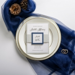Navy blue and silver wedding invitations, belly band and tag, traditional, formal weddings, thank you cards, rsvps, fall, winter, spring, affordable wedding invitations ws040
