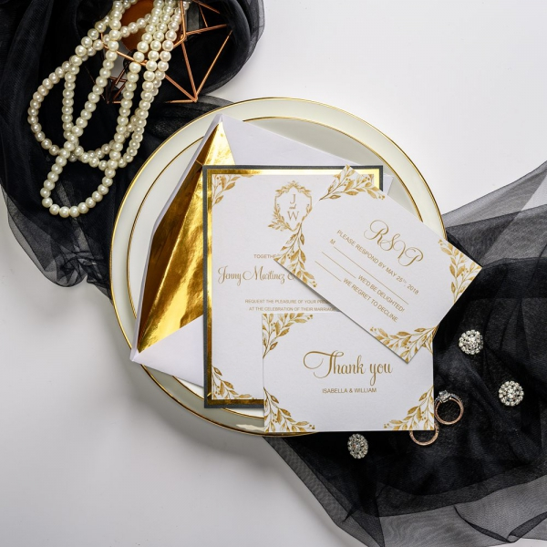 Art Deco Wedding Invitations.Gold Mirror Wedding Invitations Gold Foil Paper Monogram Wedding Invitations Luxury Classic Royal Wedding Invitations Affordable Wedding