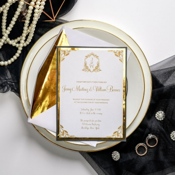 Gold mirror wedding invitations, gold foil paper, monogram wedding invitations, luxury, classic, royal wedding invitations, affordable wedding invitations ws042