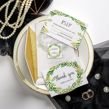 Vellum wedding invitations with greenery wreath, gold glitter backer, custom chic tag, spring and summer, thank you & rsvp cards ws044