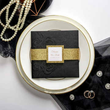 Black and gold pocket wedding invitations with belly band and tag, laser cut wedding invitations, traditional formal vintage classic, fall and winter,  thank you & rsvp cards ws048