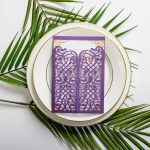 Violet purple entry door  laser cut wedding invitations, vellum belly band with tag, art deco design, thank you & rsvp cards ws049